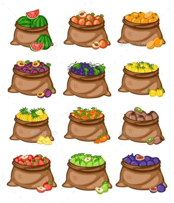 Cartoon Illustration Set of 12 Bags with Different Fruits - Food Objects