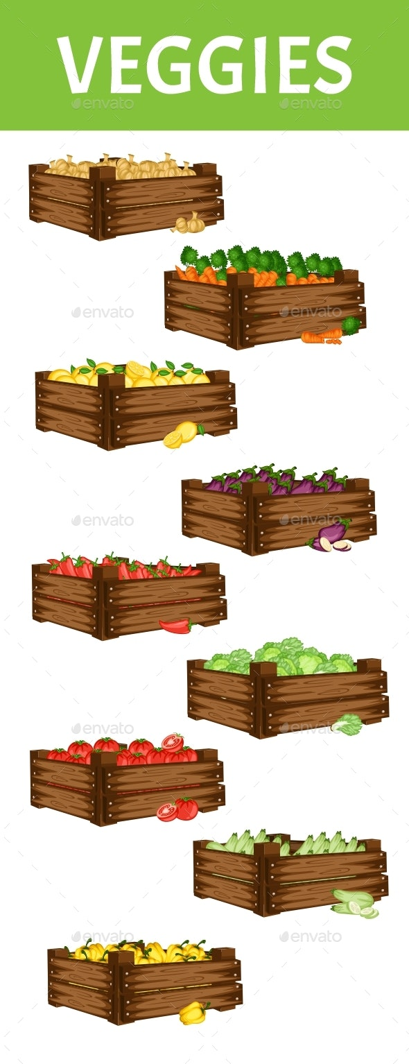 Cartoon Illustration Set of 9 Wooden Boxes with Different Vegetables - Food Objects