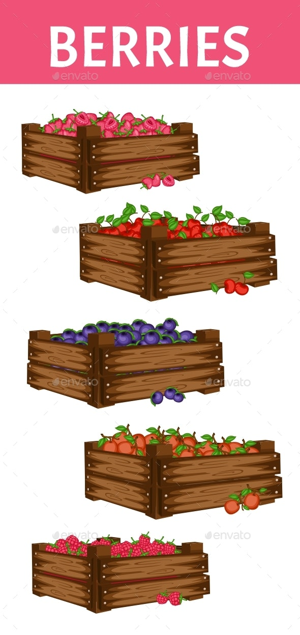 Cartoon Illustration Set of 5 Wooden Boxes with Different Berries - Food Objects