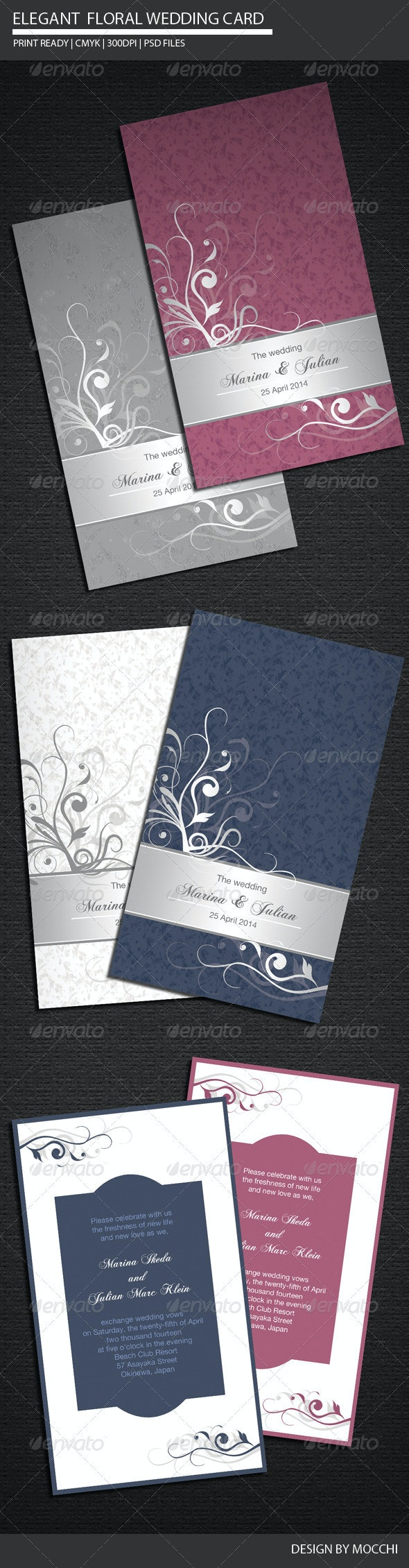 Elegant Floral Wedding Card - Weddings Cards & Invites