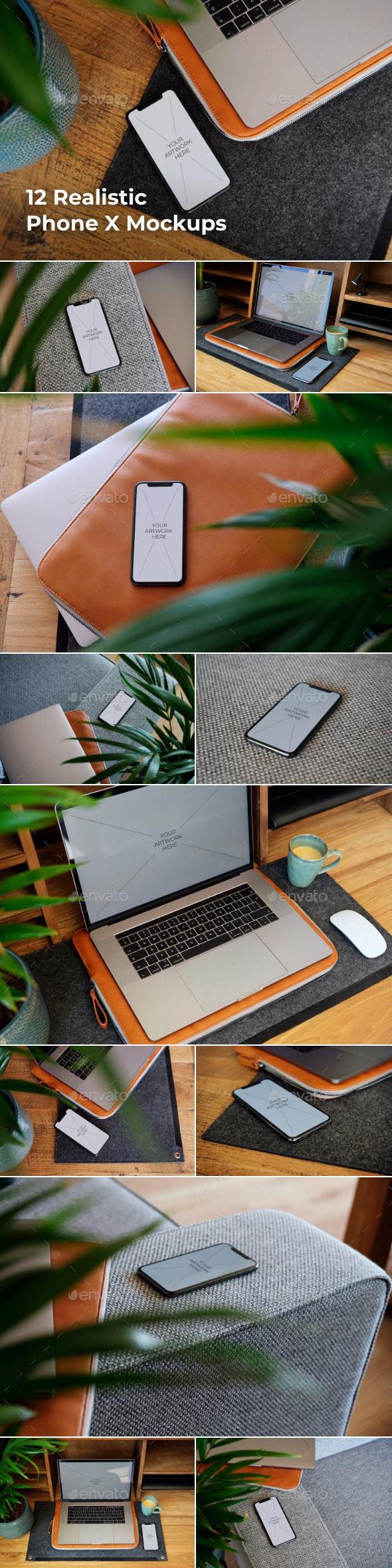 12 Realistic Phone X Mockups - Product Mock-Ups Graphics