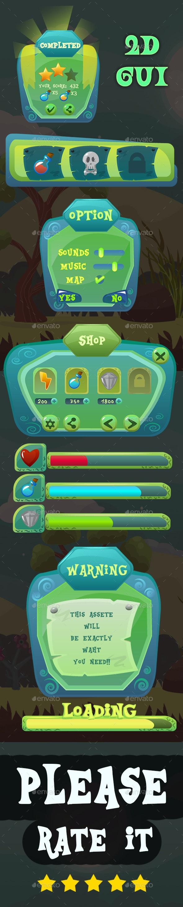 Green Cartoon GUI - User Interfaces Game Assets