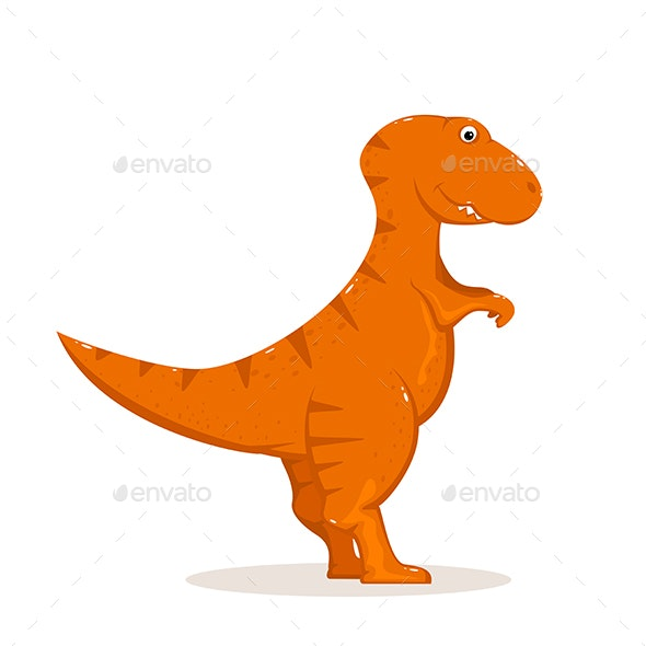 Orange Dinosaur on White Background - Monsters Characters