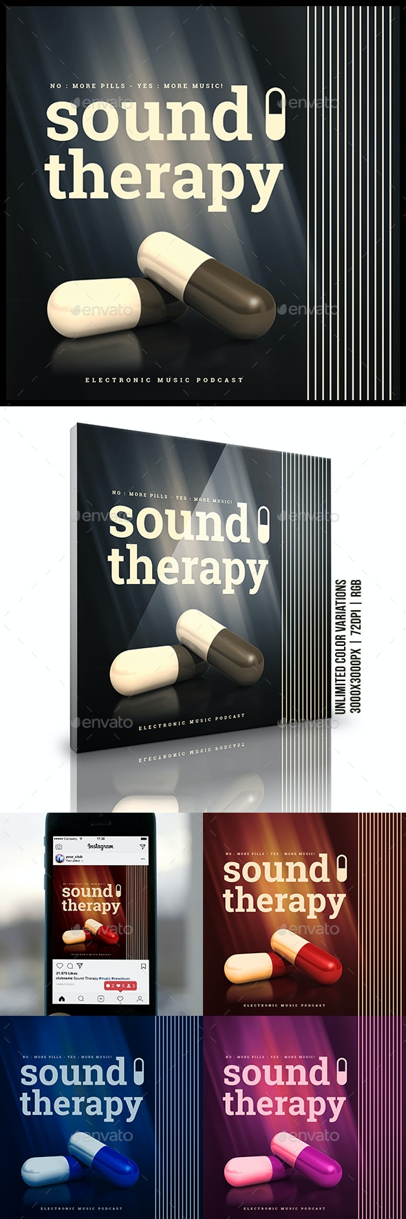 Sound Therapy Electronic Music Podcast Album Cover Template - Miscellaneous Social Media