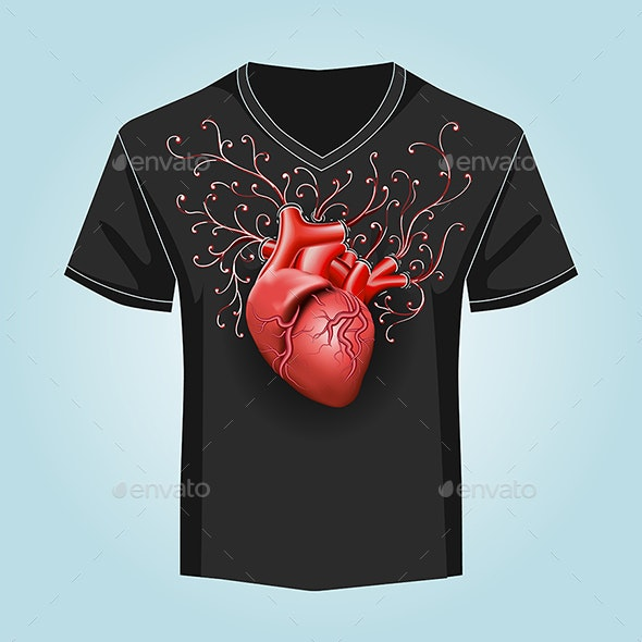 Shirt Template with Human Heart and Swirl Pattern - Miscellaneous Characters