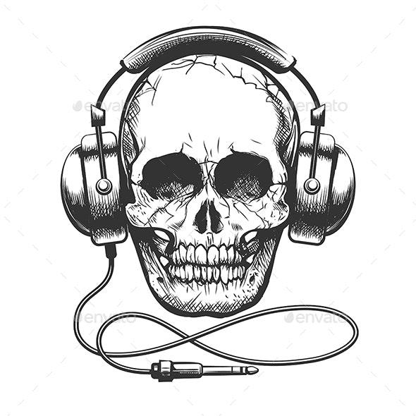Skull with Headphones - Tattoos Vectors