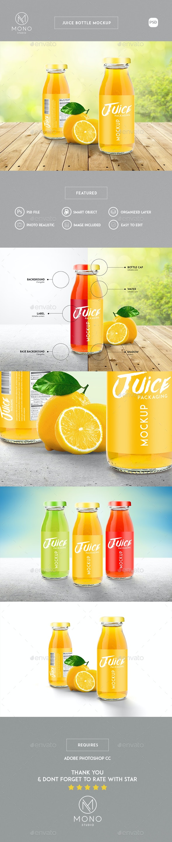 Juice Bottle Mockup - Product Mock-Ups Graphics