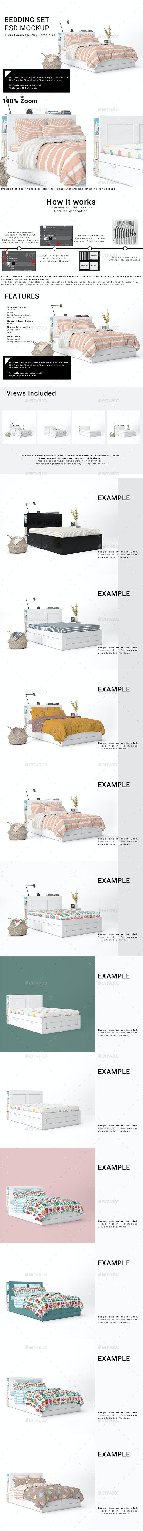 Bed Linens Mockup Set - Print Product Mock-Ups