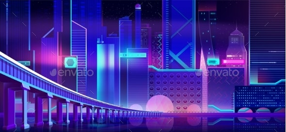 Night Neon City and Bridge Above Bay Water Surface - Buildings Objects
