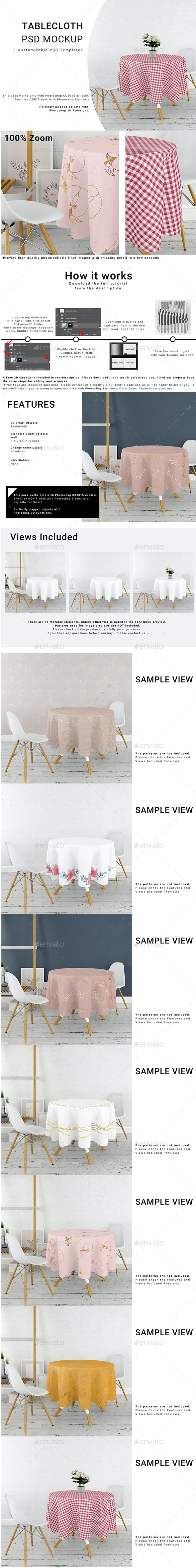 Round Tablecloth in Kitchen Mockup Set - Print Product Mock-Ups