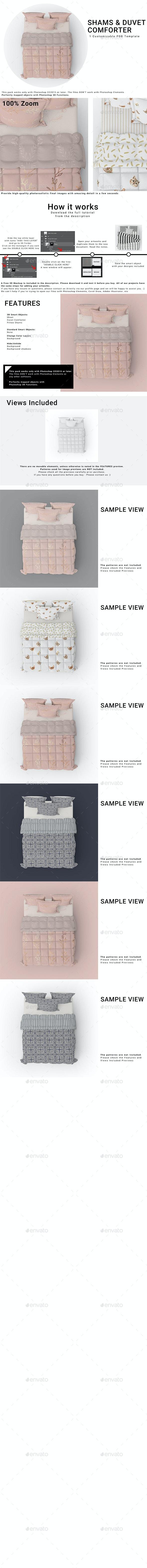 Duvet Comforter and Shams Mockup Set - Print Product Mock-Ups