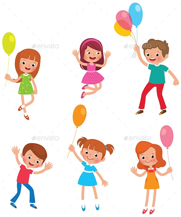 Set of Kids with Balloons - People Characters
