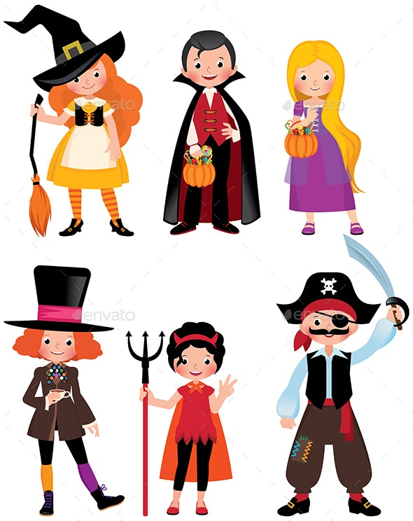 Boys and Girls in the Costumes of a Halloween Party. - Halloween Seasons/Holidays
