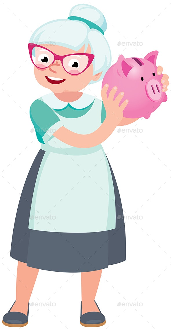Senior Woman Holding a Piggy Bank for Money - People Characters