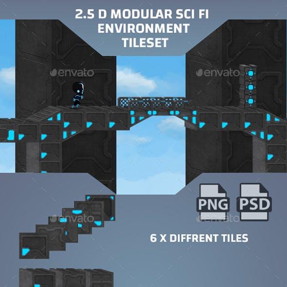 2.5D Modular Sci-fi Platformer Environment Tileset