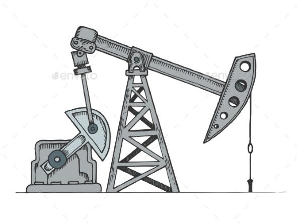 Oil Rig Color Sketch Engraving Vector Illustration - Industries Business