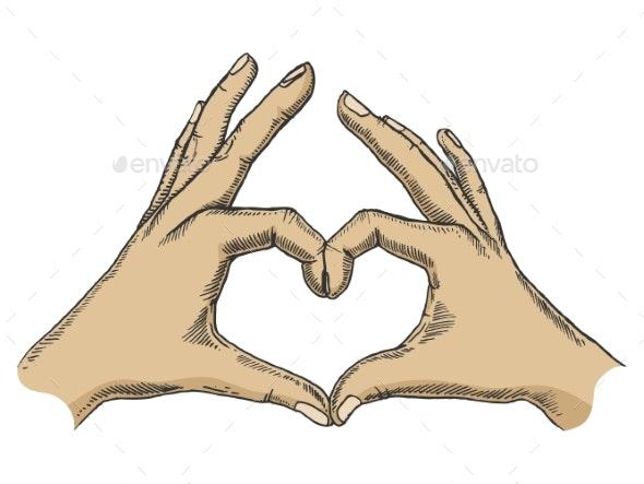Hands Making Heart Sign Color Sketch Vector - Miscellaneous Vectors