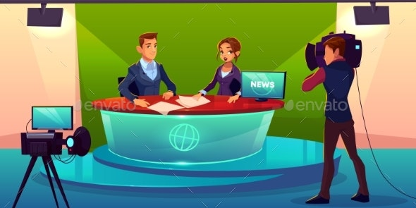 News Presenters in Television Studio Vector - People Characters