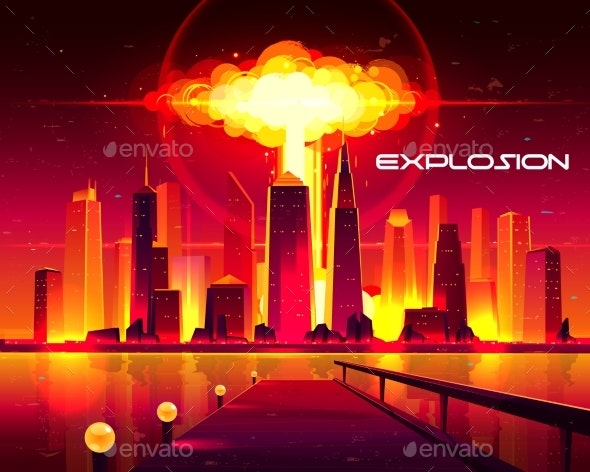Nuclear Weapon Explosion in City Cartoon Vector - Buildings Objects