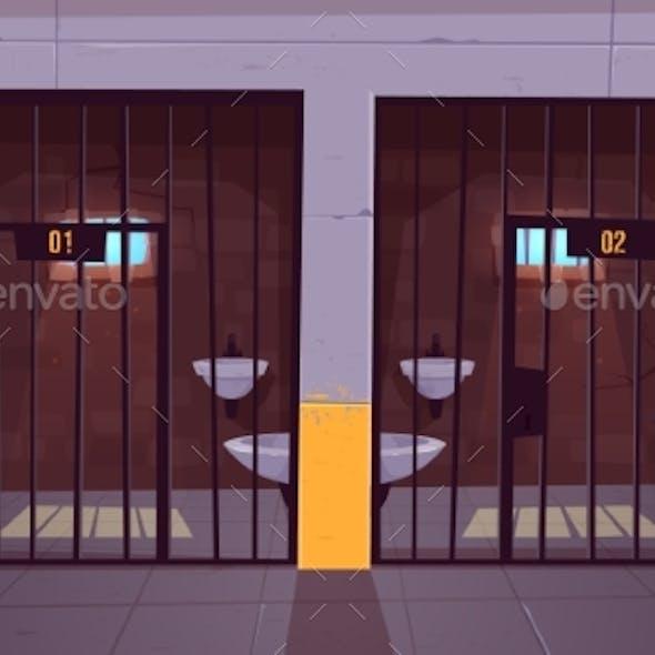 Prison Single Cells Interior Cartoon Vector