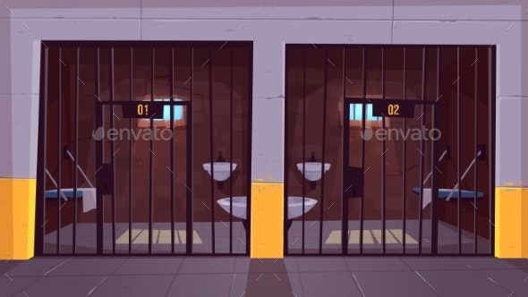 Prison Single Cells Interior Cartoon Vector - Buildings Objects