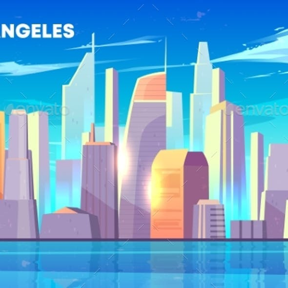 Los Angeles City Bay Skyline Cartoon Vector