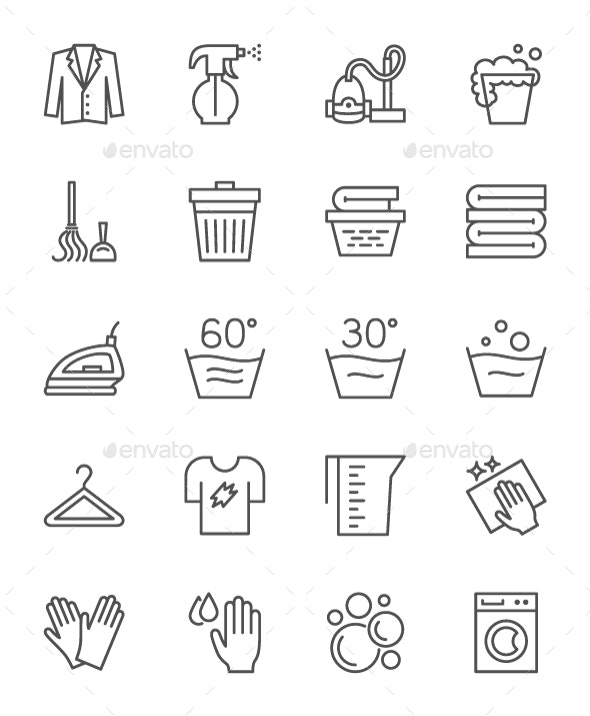 Set Of Cleaning Service Line Icons. Pack Of 64x64 Pixel Icons - Objects Icons