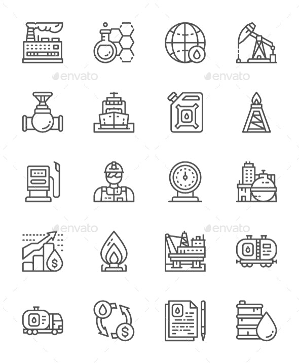 Set Of Oil Industry Line Icons. Pack Of 64x64 Pixel Icons - Business Icons