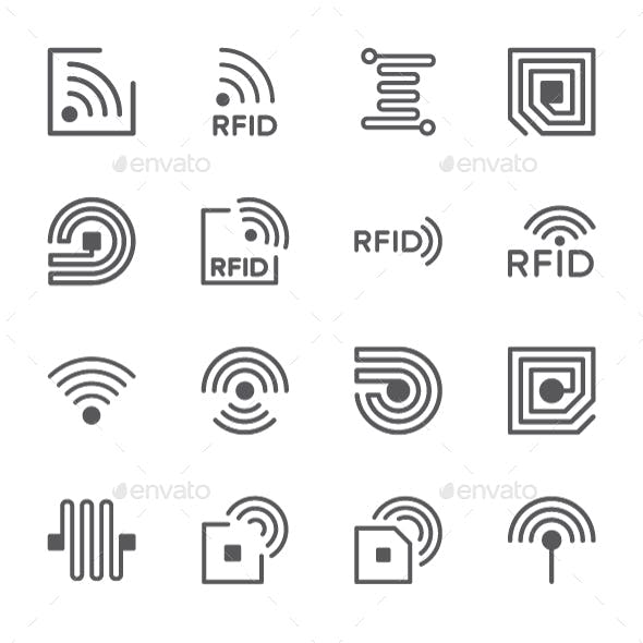 Set Of RFID Chip Line Icons. Pack Of 64x64 Pixel Icons