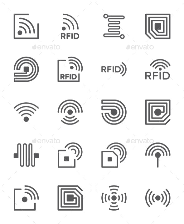 Set Of RFID Chip Line Icons. Pack Of 64x64 Pixel Icons - Technology Icons