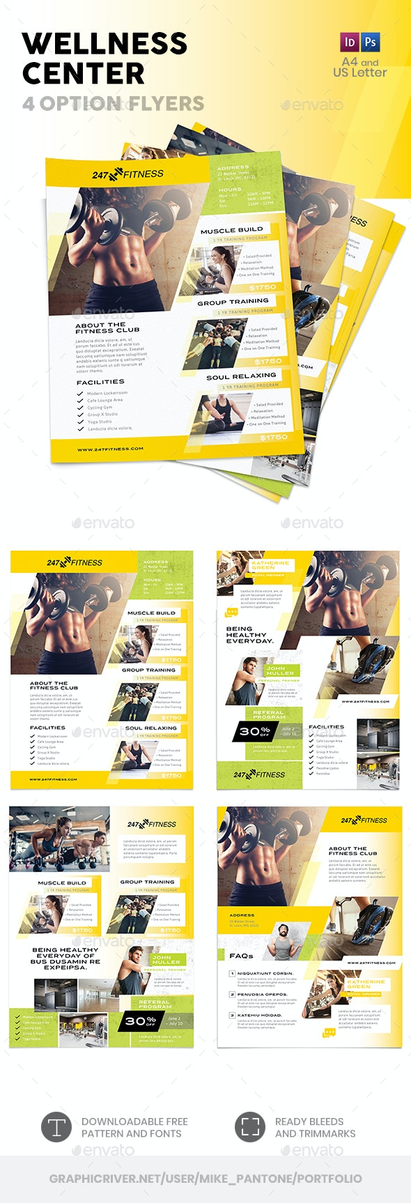 Wellness Center Flyers 3 – 4 Options - Commerce Flyers