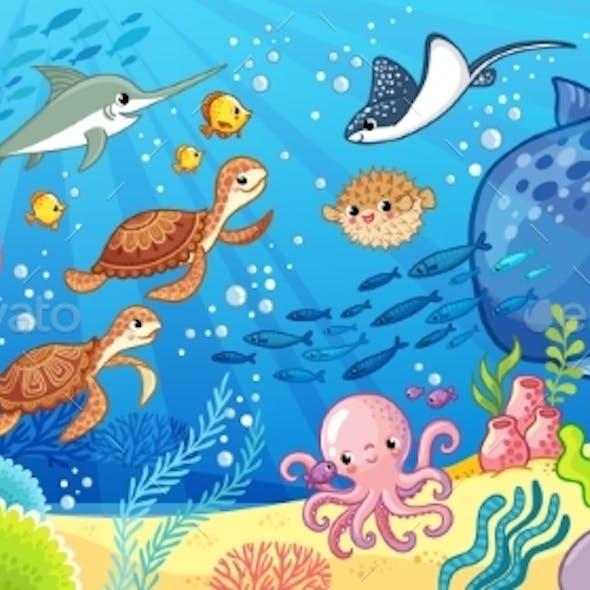 Cute Cartoon Animals Underwater. Vector