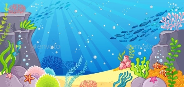 Sea Bottom. Vector Illustration with a Background - Animals Characters