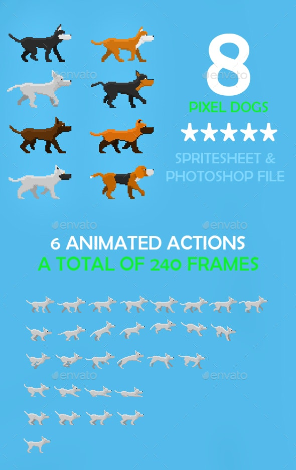 Game Dogs Sprite Sheet by Souoxra | GraphicRiver
