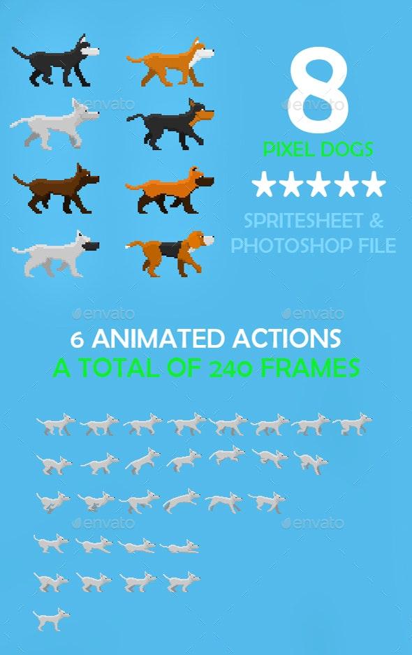 Game Dogs Sprite Sheet - Sprites Game Assets
