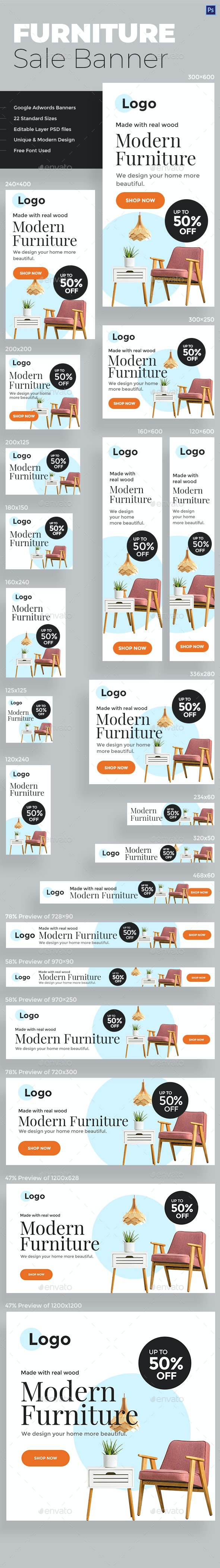 Furniture Sale Web Banners - Banners & Ads Web Elements