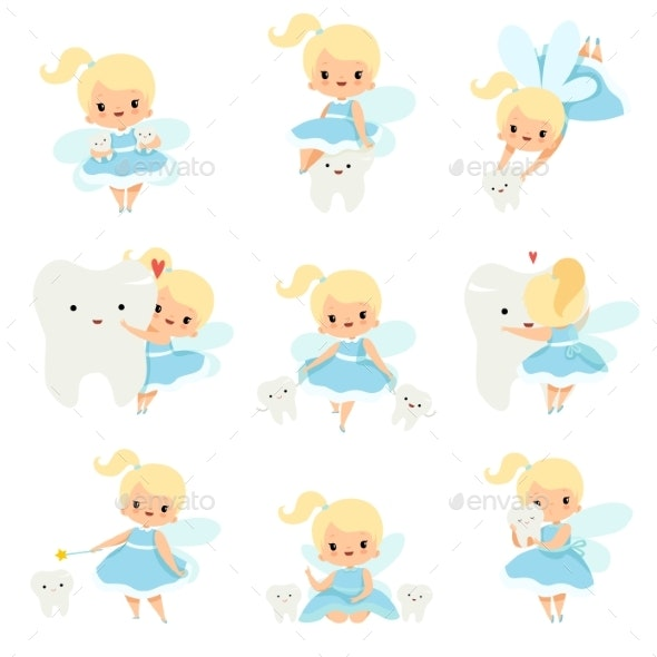 Cute Little Tooth Fairy with Baby Teeth Set - Health/Medicine Conceptual
