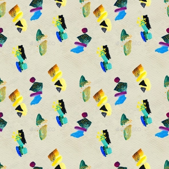 Seamless Pattern Made By Hand Drawn Paint Strokes - Patterns Decorative