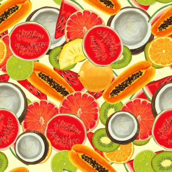 Hand Drawn Pattern with Bananas, Coconuts - Patterns Decorative