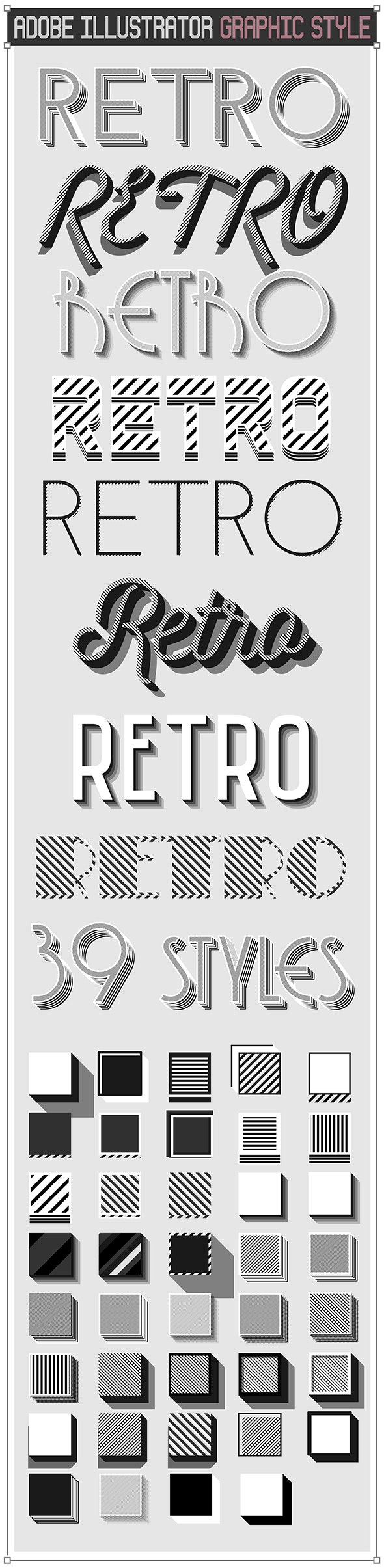 Vector Retro Vintage Black and White Text Styles - Styles Illustrator