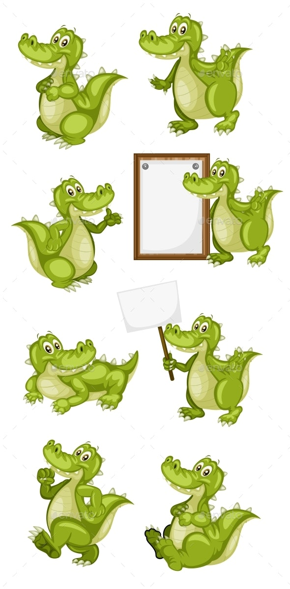 Vector Illustration of a Happy Alligator Set - Animals Characters