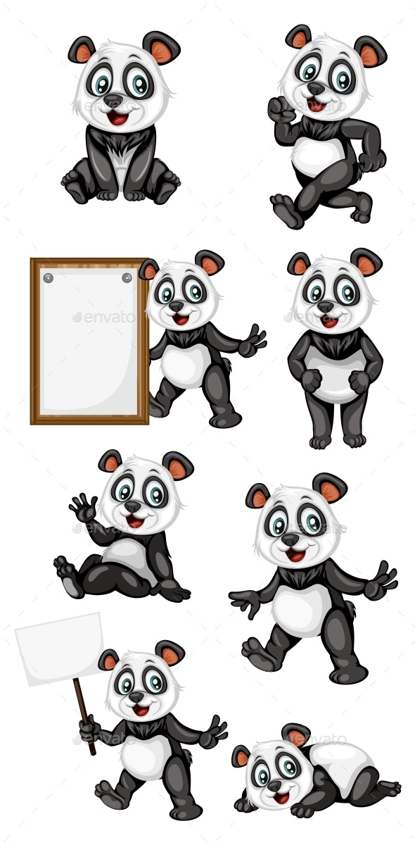 Vector Illustration of a Happy Panda Set - Animals Characters
