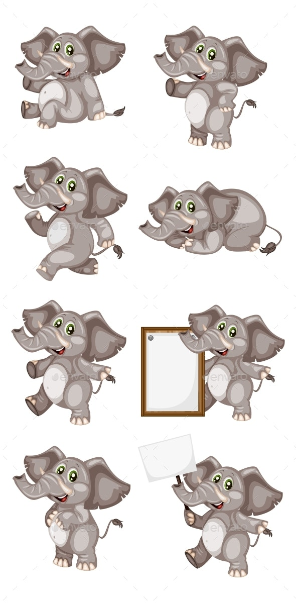 Vector Illustration of a Happy Elephant Set - Animals Characters