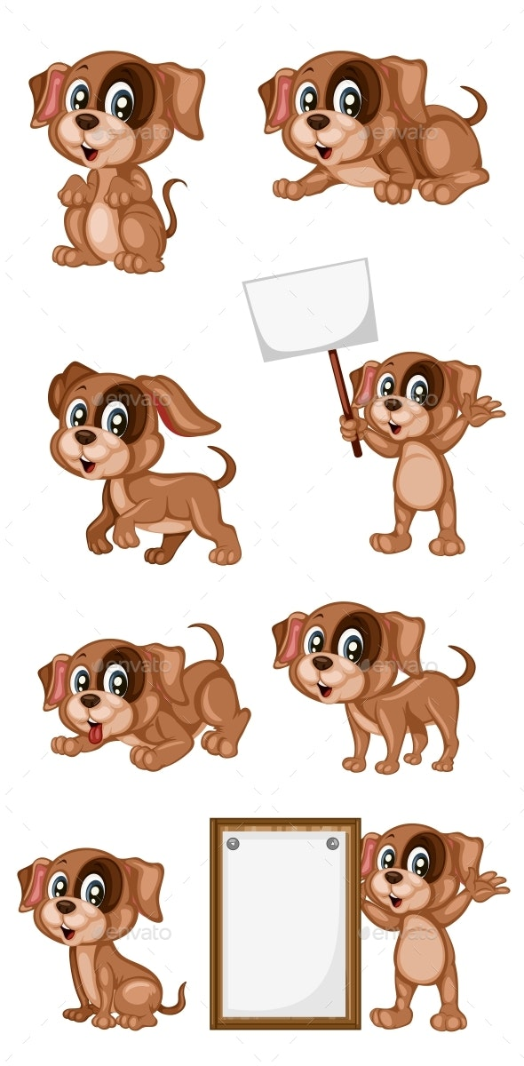 Vector Illustration of a Happy Dog Set - Animals Characters
