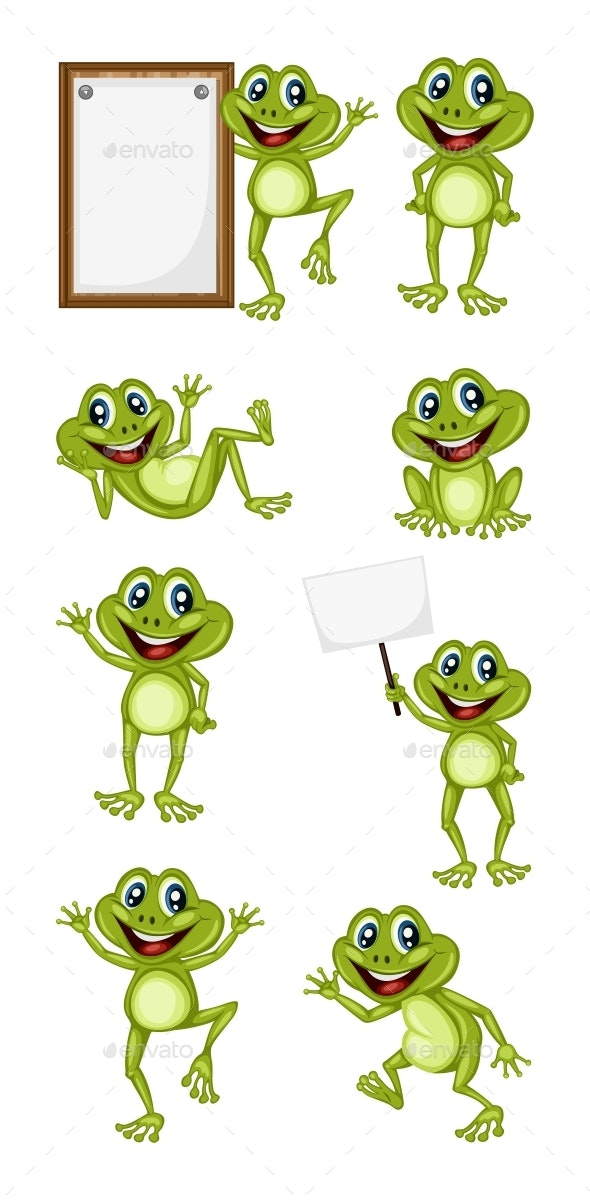 Vector Illustration of a Happy Frog Set - Animals Characters