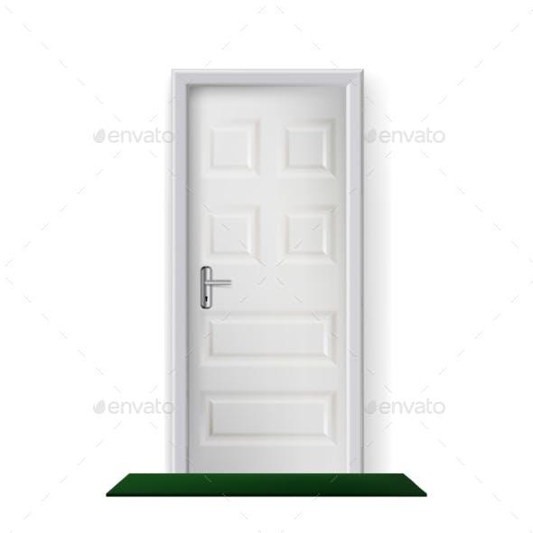 Building Entrance Door and Mat on Floor Vector