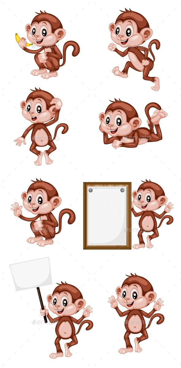 Vector Illustration of a Happy Monkey Set - Animals Characters