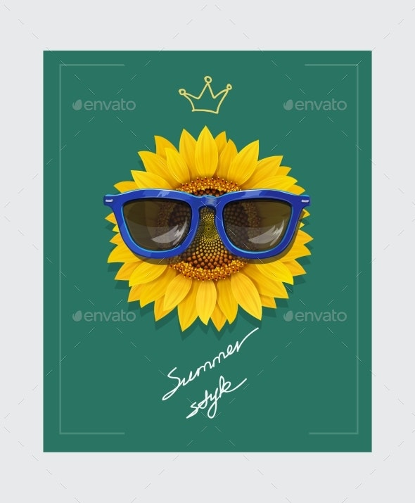 Sunflower with Sunglasses and Slogan - Flowers & Plants Nature