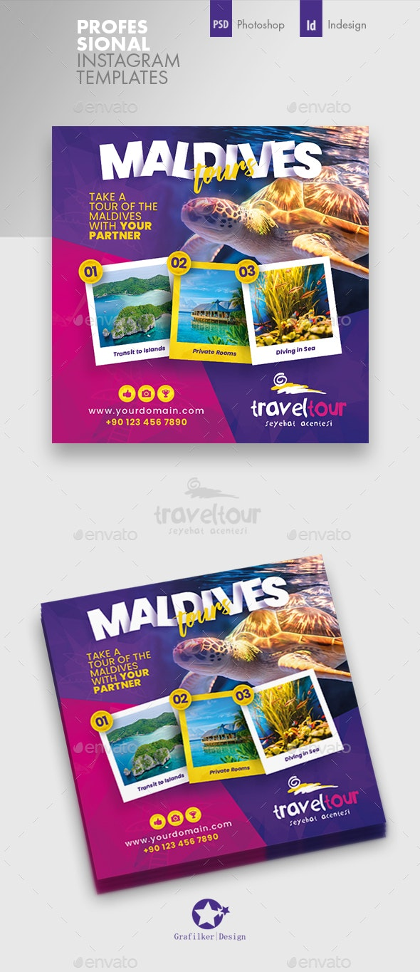 Travel Tours Instagram Templates - Social Media Web Elements