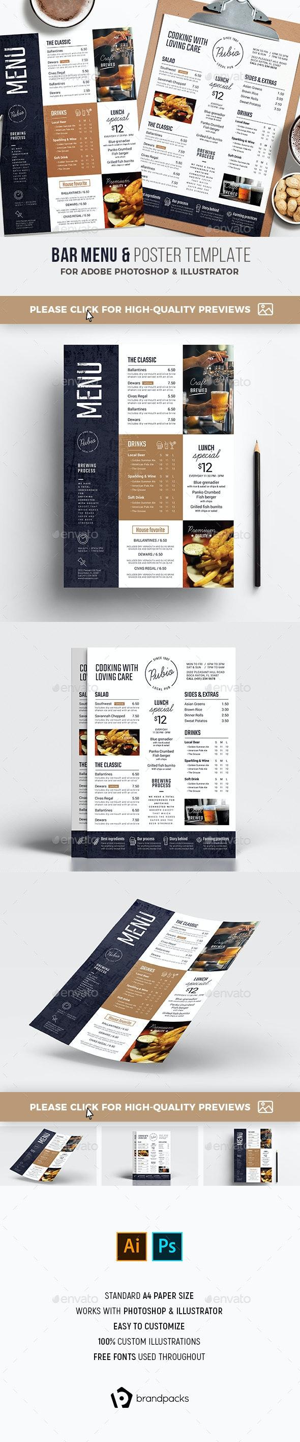 Bar Menu / Flyer - Food Menus Print Templates
